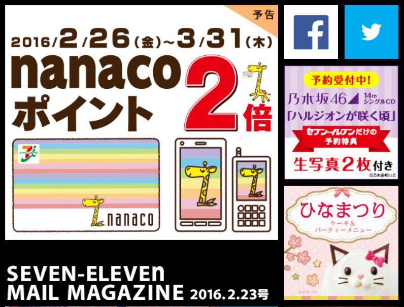 「セブンイレブン福山駅前店」よりnanacoポイント2倍イベントのお知らせ