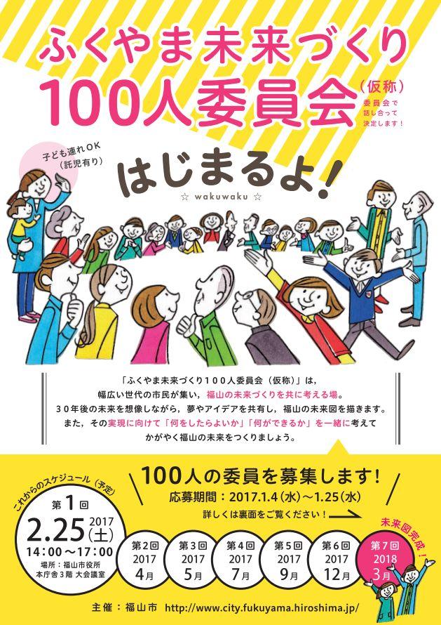 福山市から「ふくやま未来づくり100人委員会(仮称)」の委員募集の案内